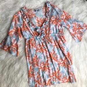 Mud pie Color Me Coral Swim Dress. Size Small